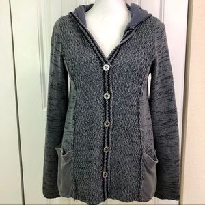 Free People grey button down hooded cardigan
